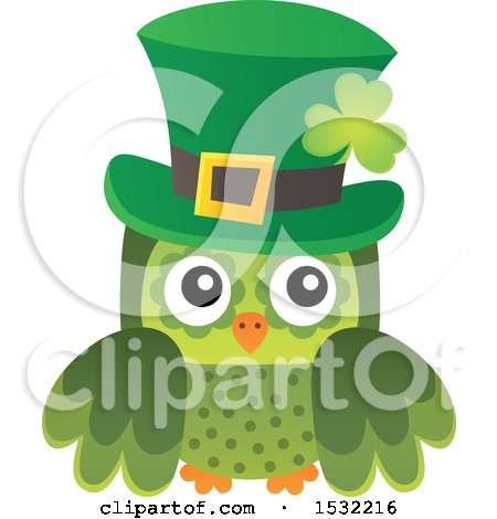 Clipart of a Green St Patricks Day Owl - Royalty Free Vector Illustration by visekart