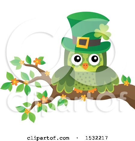 Clipart of a Green St Patricks Day Owl on a Branch - Royalty Free Vector Illustration by visekart