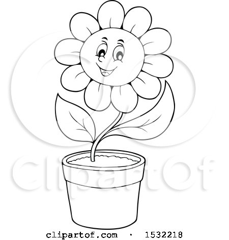 Clipart of a Black and White Potted Cheerful Daisy Flower Character - Royalty Free Vector Illustration by visekart
