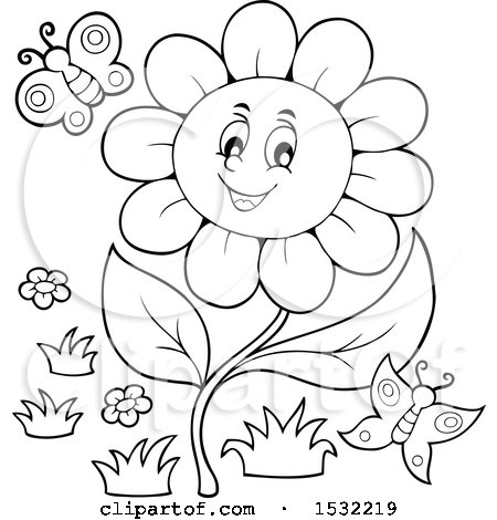 Clipart of a Black and White Butterfly and Daisy Flower Character - Royalty Free Vector Illustration by visekart