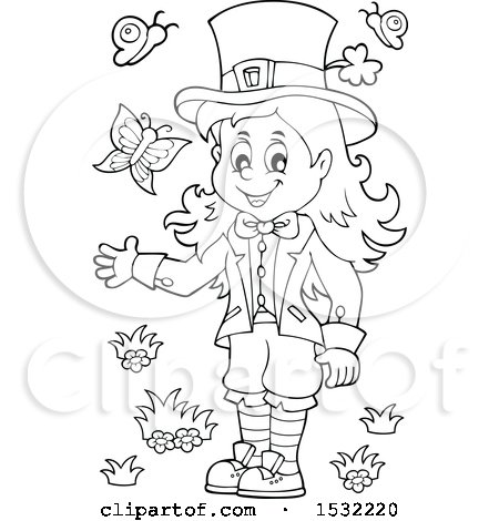 Clipart of a Black and White St Patricks Day Female Leprechaun with Butterflies - Royalty Free Vector Illustration by visekart