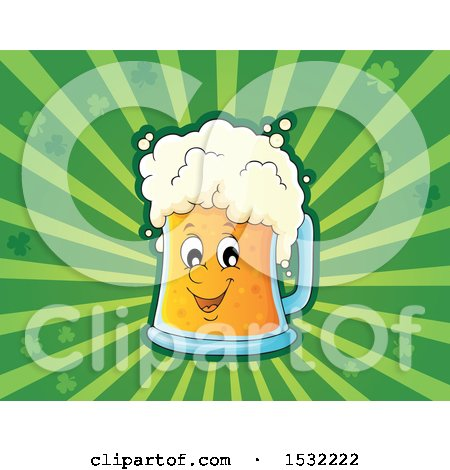 Clipart of a St Patricks Day Beer Character over Green Rays and Shamrocks - Royalty Free Vector Illustration by visekart