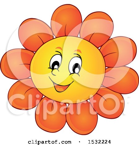 Clipart of a Cheerful Daisy Flower Character - Royalty Free Vector Illustration by visekart