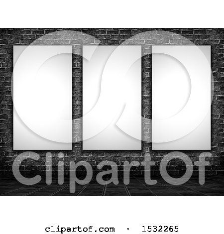 Clipart of 3d Blank Pictures on a Dark Brick Wall - Royalty Free Illustration by KJ Pargeter