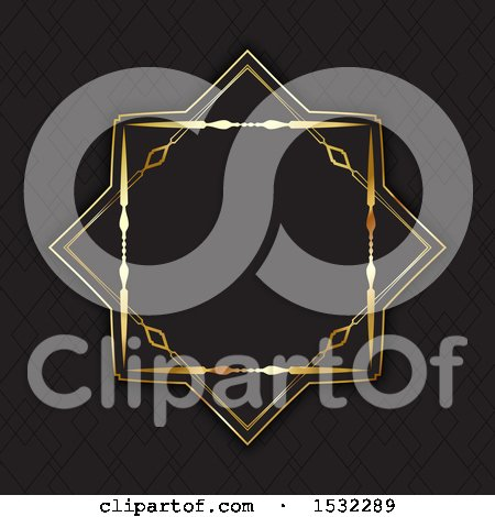 Clipart of a Golden Frame on Black - Royalty Free Vector Illustration by KJ Pargeter