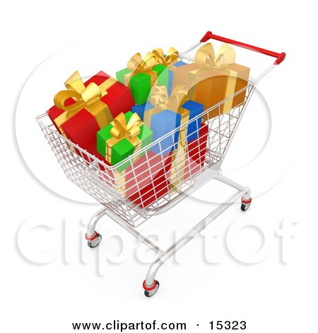 Shopping Cart Full Of Wrapped Christmas Presents In A Store  Posters, Art Prints