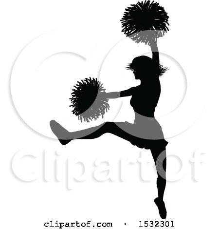 Clipart of a Black Silhouetted Cheerleader in Action - Royalty Free Vector Illustration by AtStockIllustration
