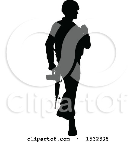 Clipart of a Black Silhouetted Male Armed Soldier - Royalty Free Vector Illustration by AtStockIllustration