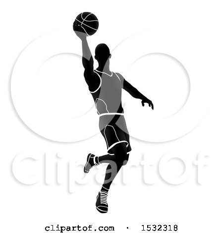 Clipart of a Silhouetted Black and White Basketball Player - Royalty Free Vector Illustration by AtStockIllustration