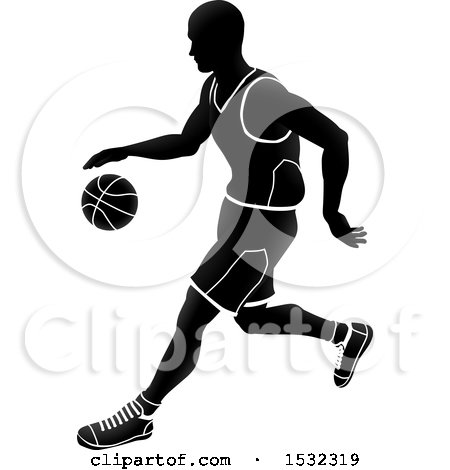 Clipart of a Silhouetted Black and White Basketball Player Dribbling - Royalty Free Vector Illustration by AtStockIllustration