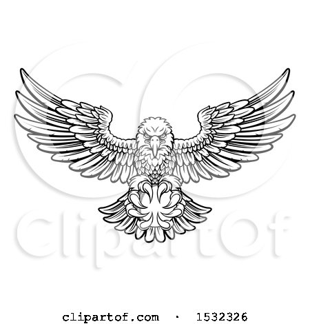 Clipart of a Black and White Swooping American Bald Eagle with a Cricket Ball in His Talons - Royalty Free Vector Illustration by AtStockIllustration