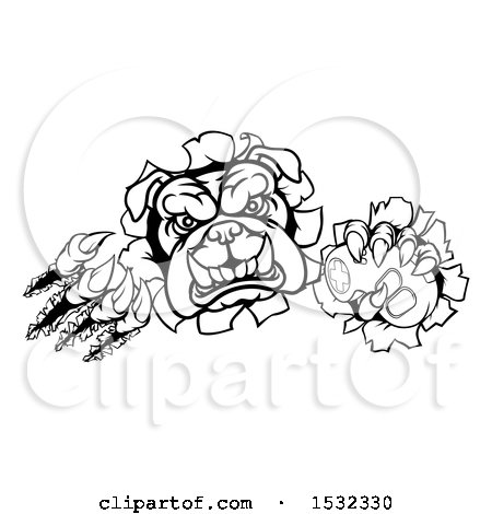 Clipart Of A Black And White Bulldog Mascot Holding A Video Game