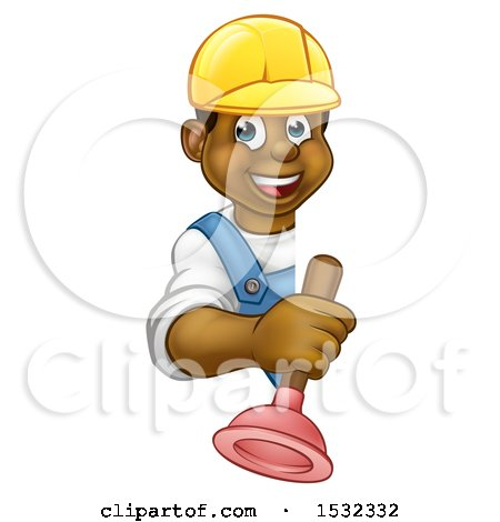 Clipart of a Happy Black Male Plumber Holding a Plunger Around a Sign - Royalty Free Vector Illustration by AtStockIllustration