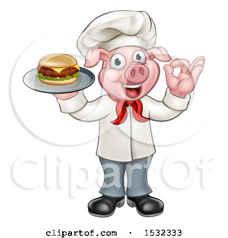 Clipart of a Full Length Chef Pig Holding a Cheese Burger on a Tray and Gesturing Okay - Royalty Free Vector Illustration by AtStockIllustration