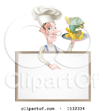 Clipart of a Male Chef Holding Fish and Chips on a Tray and Pointing down over a Menu - Royalty Free Vector Illustration by AtStockIllustration