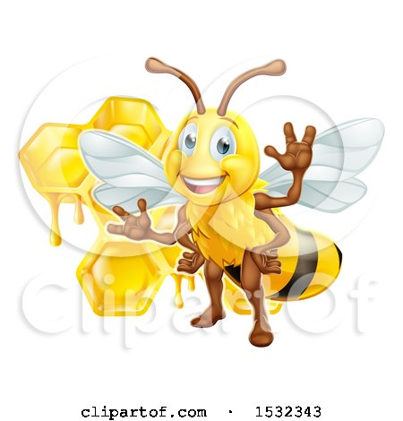Clipart of a Happy Bee and Honeycombs - Royalty Free Vector Illustration by AtStockIllustration