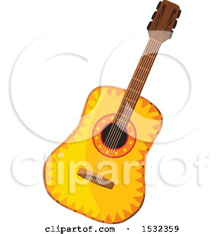 Clipart of a Cinco De Mayo Guitar - Royalty Free Vector Illustration by Vector Tradition SM