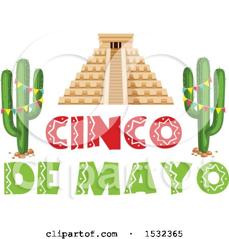 Clipart of a Cinco De Mayo Design with El Castillo and Cactus - Royalty Free Vector Illustration by Vector Tradition SM