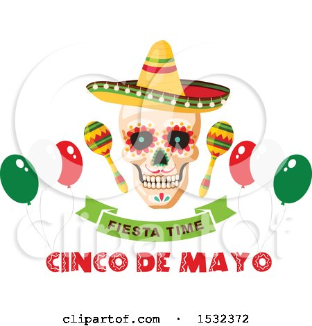 Clipart of a Cinco De Mayo Party Mexican Skull Design - Royalty Free Vector Illustration by Vector Tradition SM