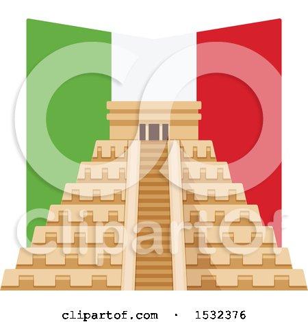 Clipart of a Cinco De Mayo with El Castillo Pyramid and Flag - Royalty Free Vector Illustration by Vector Tradition SM