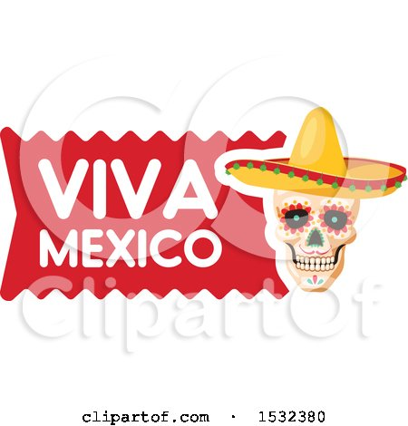 Clipart of a Viva Mexico Skull Design - Royalty Free Vector Illustration by Vector Tradition SM