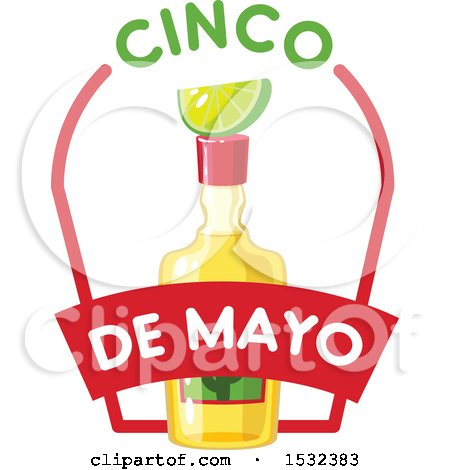 Clipart of a Cinco De Mayo Tequila Bottle with Lime - Royalty Free Vector Illustration by Vector Tradition SM