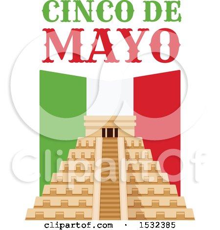 Clipart of a Cinco De Mayo with El Castillo Pyramid - Royalty Free Vector Illustration by Vector Tradition SM