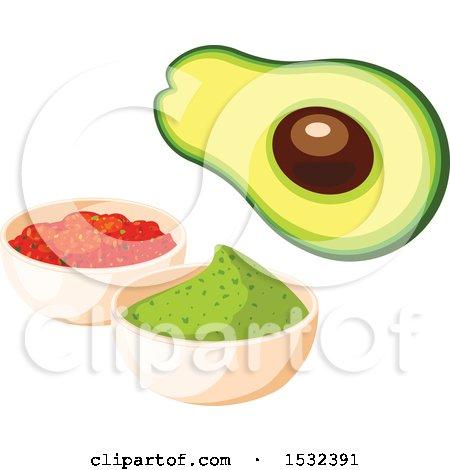 Clipart of a Cinco De Mayo Avocado with Salsa and Guacamole - Royalty Free Vector Illustration by Vector Tradition SM