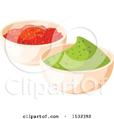 Clipart of a Cinco De Mayo Mexican Salsa and Guacamole - Royalty Free Vector Illustration by Vector Tradition SM