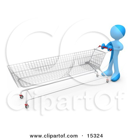 Blue Person Pushing A Super Long Shopping Cart In A Store While Planning To Purchase A Lot Posters, Art Prints