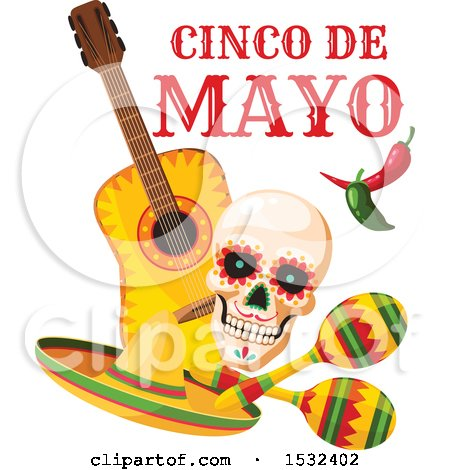 Clipart of a Cinco De Mayo Mexican Skull Design - Royalty Free Vector Illustration by Vector Tradition SM