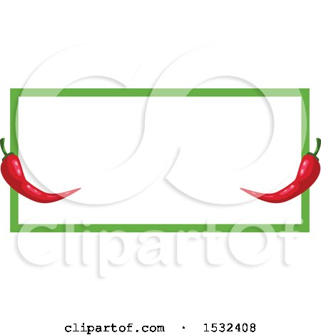 Clipart of a Cinco De Mayo Red Pepper Frame Design - Royalty Free Vector Illustration by Vector Tradition SM
