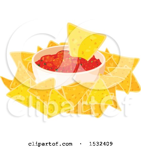 Clipart of a Cinco De Mayo Mexican Tortilla Chips and Salsa - Royalty Free Vector Illustration by Vector Tradition SM