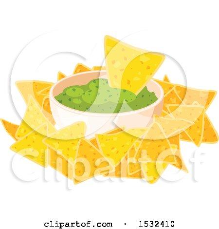 Clipart of a Cinco De Mayo Mexican Tortilla Chips and Guacamole - Royalty Free Vector Illustration by Vector Tradition SM