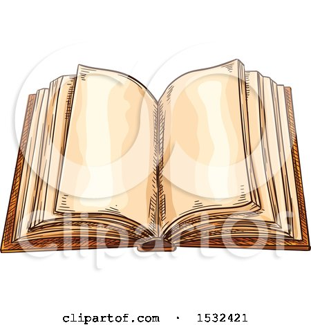 Clipart of a Sketched Open Book - Royalty Free Vector Illustration by Vector Tradition SM
