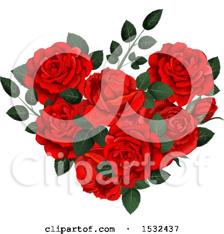 Clipart of a Heart Formed of Red Roses - Royalty Free Vector Illustration by Vector Tradition SM