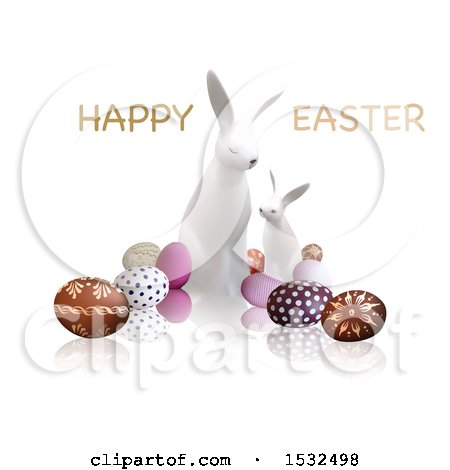 Clipart of a Happy Easter Greeting over White Bunnies and Eggs, on a Reflective White Background - Royalty Free Vector Illustration by dero