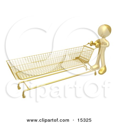 Gold Person Pushing A Super Long Shopping Cart In A Store While Planning To Purchase A Lot  Posters, Art Prints