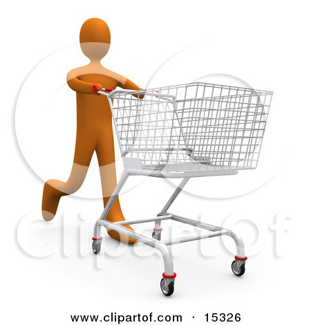 Orange Person Running Through A Store And Pushing A Shopping Cart  Posters, Art Prints
