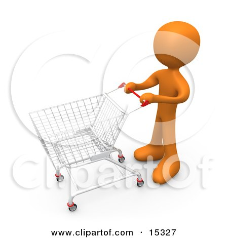 Orange Person Standing With A Shopping Cart In A Store Posters, Art Prints