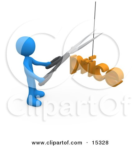 Blue Person Cutting A Price With A Pair Of Scissors  Posters, Art Prints
