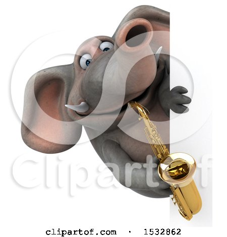 3d Elephant Playing A Saxophone On A White Background Posters Art Prints By Interior Wall Decor 1532862