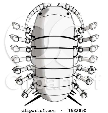 Clipart of a Pillbug Robot Top View - Royalty Free Illustration by Leo Blanchette