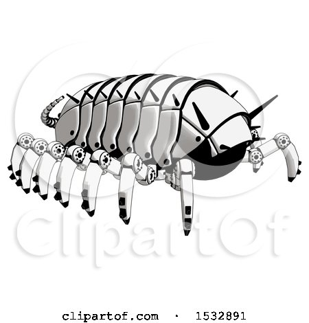 Clipart of a Pillbug Robot Rear Angle View - Royalty Free Illustration by Leo Blanchette