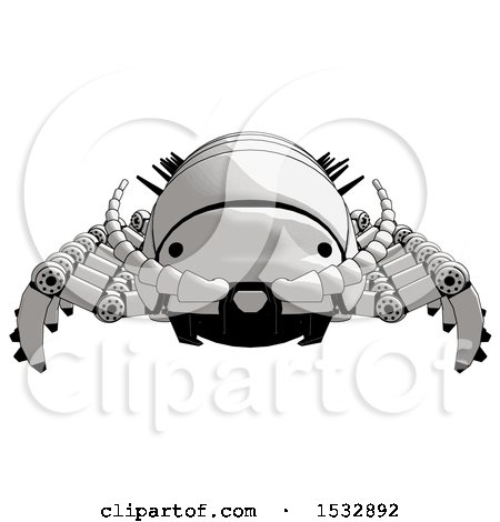 Clipart of a Pillbug Robot Front View - Royalty Free Illustration by Leo Blanchette