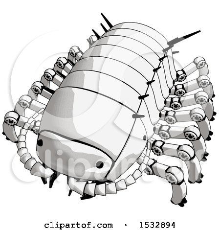 Clipart of a Pillbug Robot - Royalty Free Illustration by Leo Blanchette