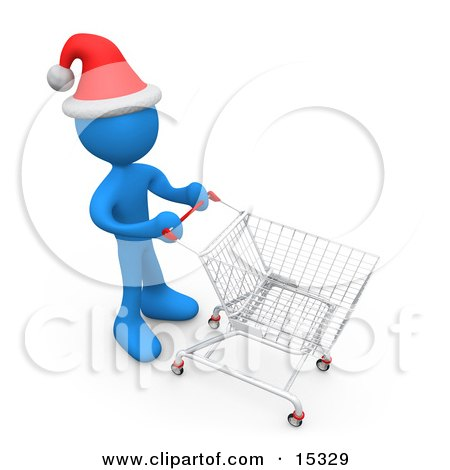 Blue Person Wearing A Santa Hat And Pushing A Shopping Cart Through A Store While Christmas Shopping  Posters, Art Prints
