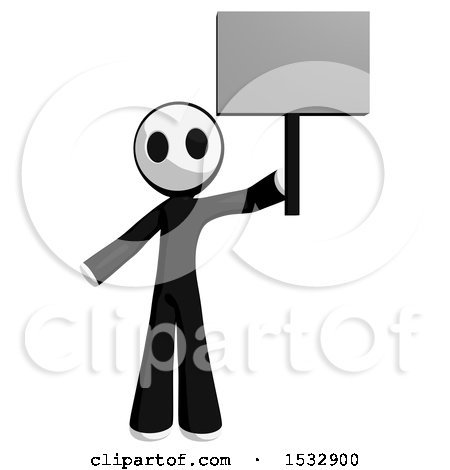 Clipart of a Maskman Protesting and Holding a Sign - Royalty Free Illustration by Leo Blanchette