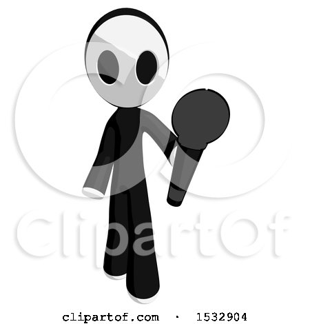Clipart of a Maskman Holding out a Microphone - Royalty Free Illustration by Leo Blanchette