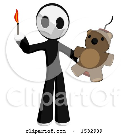 Maskman Holding a Teddy Bear Strapped to Dynamite and a Lit Match Posters, Art Prints